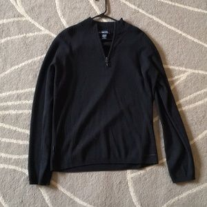Black wool blend quarter zip sweater large
